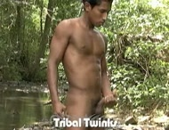 Hot Latin twink jerks off outdoors